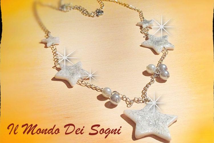 Collana fimo stelle bianche+SCATOLINA REGALO!IDEA REGALO