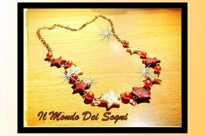 Collana fimo stelle marroni e beige+OMAGGIO!!
