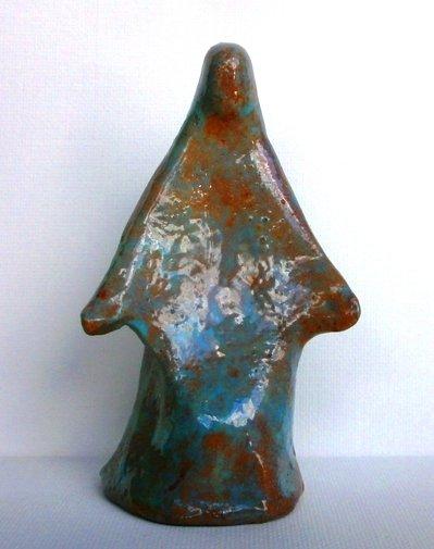 "SCULTURE SCULTURA D'AUTORE "" MADONNA "" Sculturina informale in ceramica - Firmata N.A. 592 con AUTENTICA in pieghevole !"