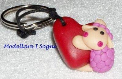 Portachiavi Pecorella Rosa con Cuore