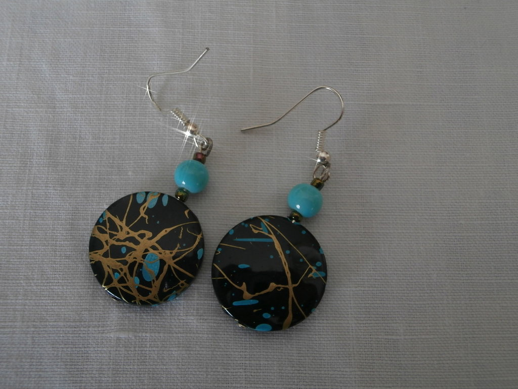 """Gold blue Pollock"" earrings"