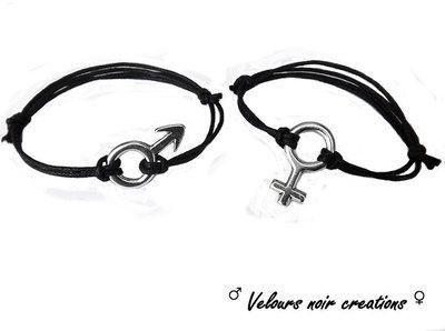 coppia bracciali simbolo maschio femmina infinito amore unisex