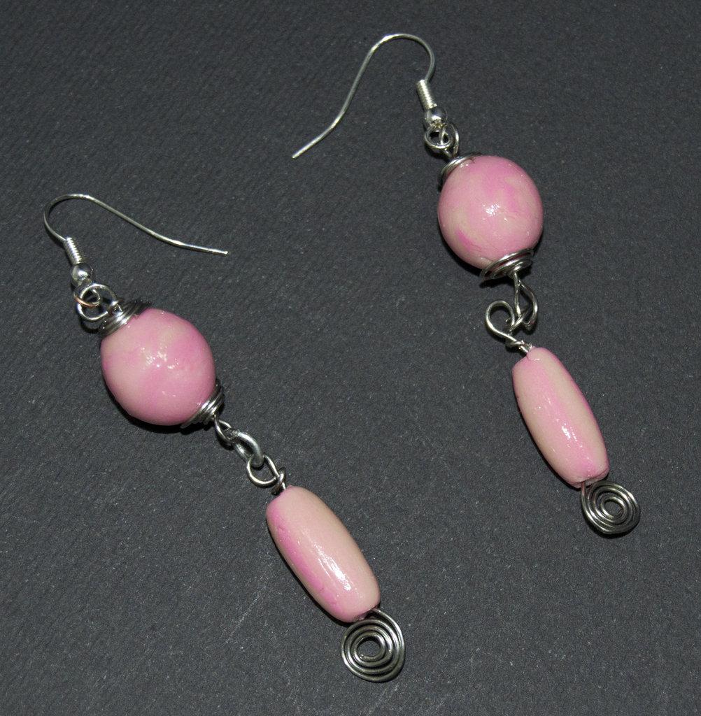 Orecchini wire rosa