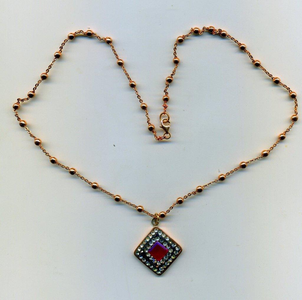 CATENINA in argento placcato rosa con pendente di radice di rubino e zirconi