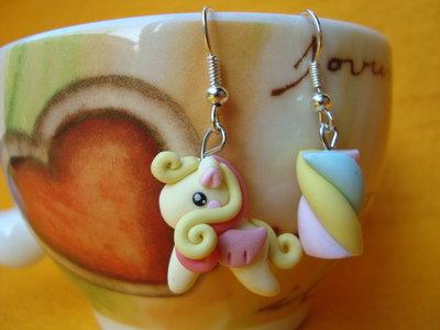 Orecchini My little Pony e Marshmallow Giallo Rosa Kawaii in Fimo