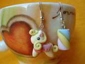 Orecchini My little Pony e Marshmallow Giallo Rosa Kawaii in Fimo