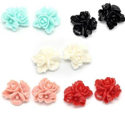 lotto 10 Fiori in Resina per decorazione gioielli 16x16mm colori mix a coppie