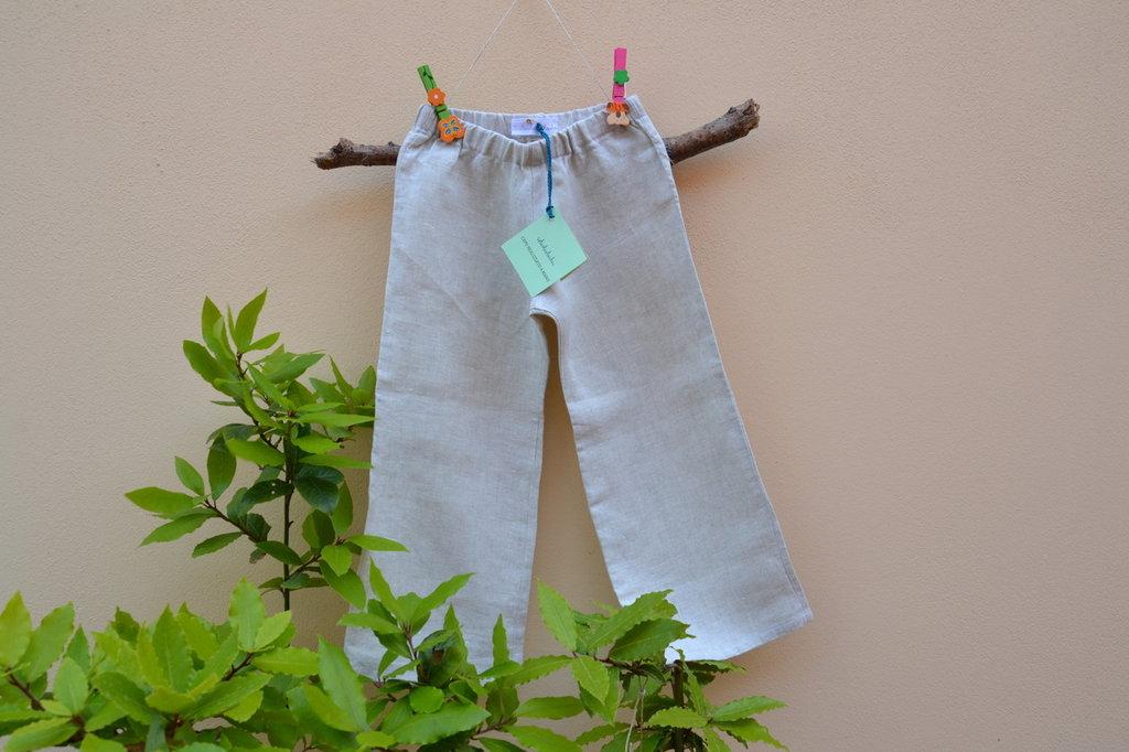 pantalone bimbo in tessuto 100% lino naturale biologico