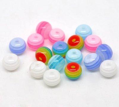 15 Perle Sfere in Resina con Striscia 8mm Dia