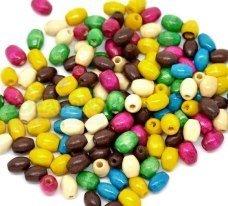 50 perline in legno ovali 6x4 mm colori misti