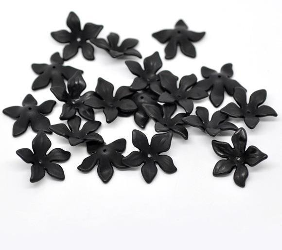 Perle Fiore Glassato in Acrilico Nero 28x7mm