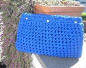 Pochette in fettuccia blu con Swarovski
