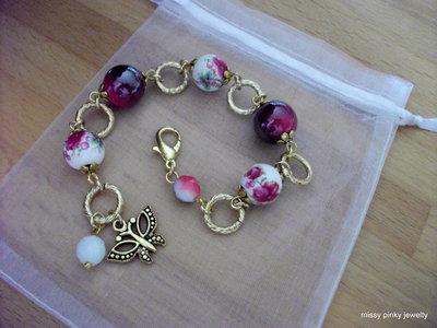 Bracciale Flower ceramica fiore oro fucsia-