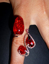 Anello kristal rosso wire