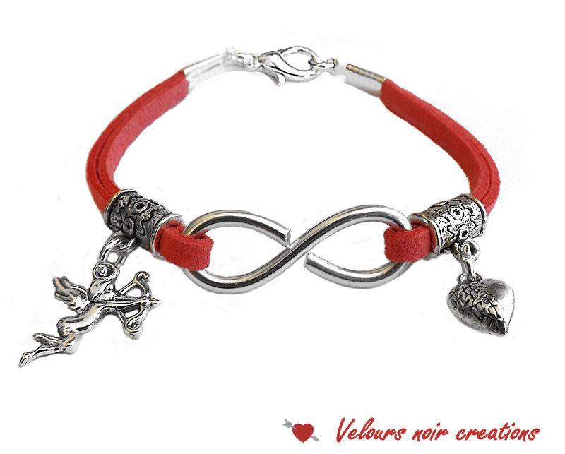 bracciale simbolo infinito wire laccio suede rosa cupido cuoricino