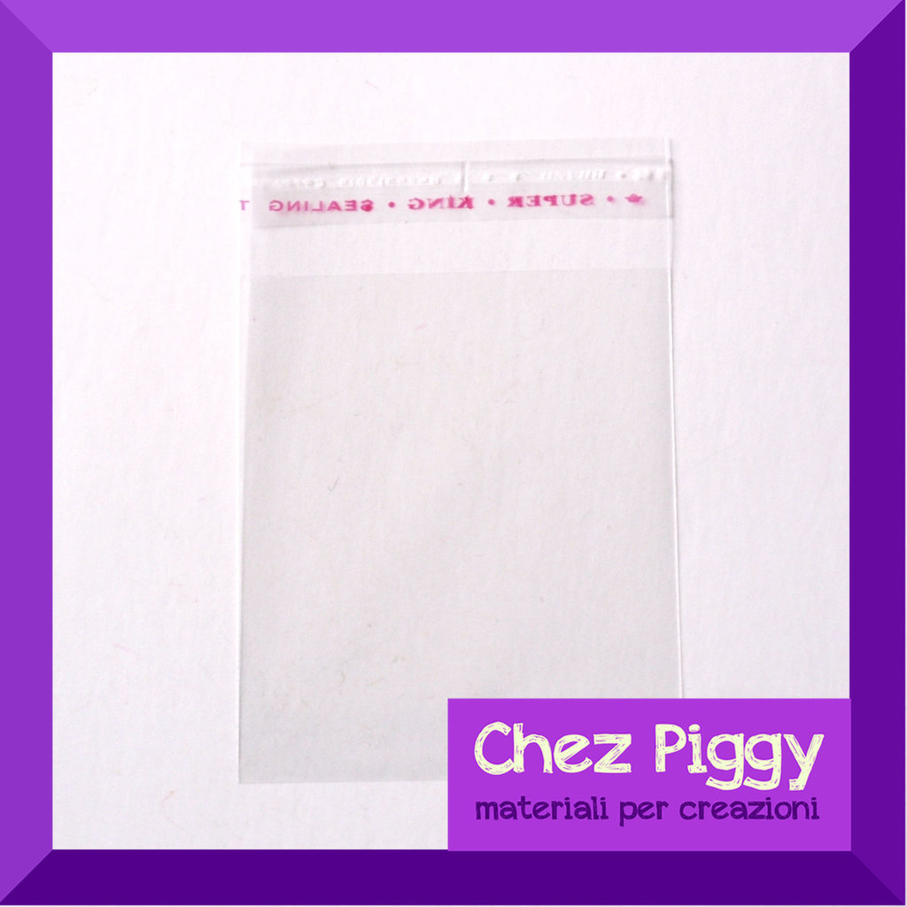 100 x bustine trasparenti adesive