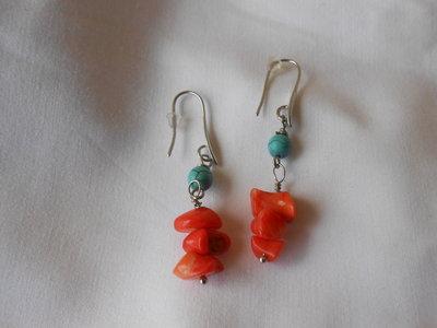 orecchini, con coralli e turchesi