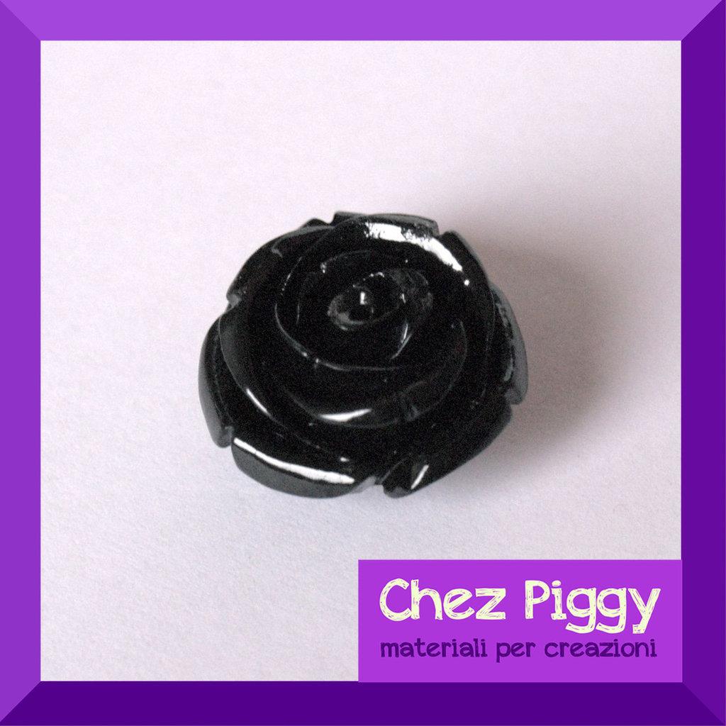 1 x Perla a forma di rosa - NERO