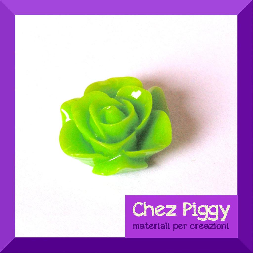 1 cabochon a forma di fiore - VERDE