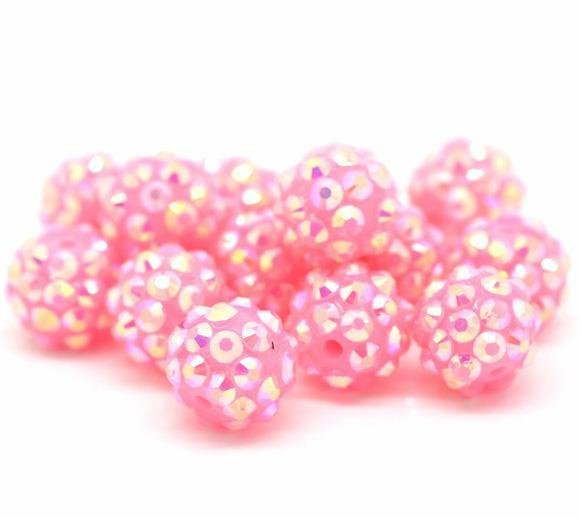 Perle Sfera con Strass in Rosa 12mm Dia scontato