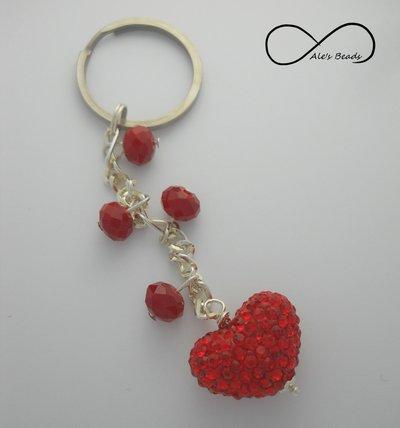 portachiavi strass rosso a cuore