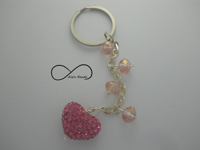 portachiavi strass rosa a cuore