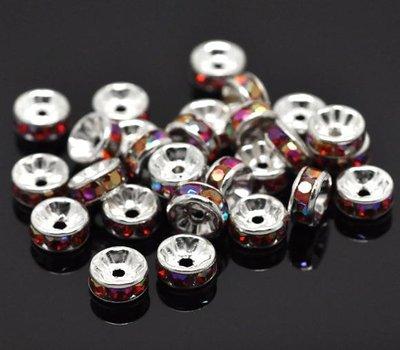 4 perle,spaziatori  Rondelle con Strass Color  AB Argentato 8mm Dia