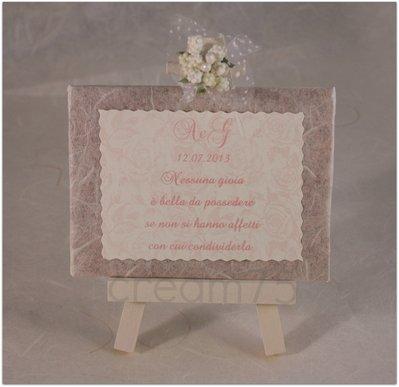 Mini cavalletto rose rosa segnatavolo sposi matrimonio bomboniere