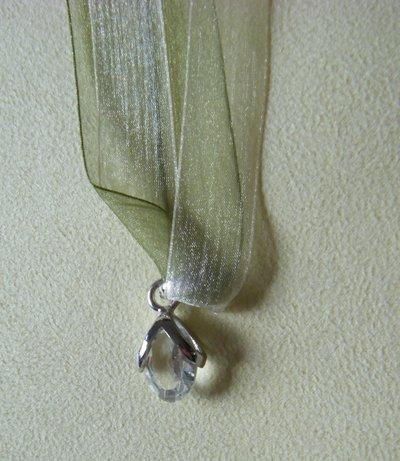 collana collarino doppio,organza diversi colori,  e ciondolo con cristallo swarovski