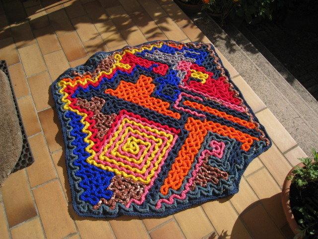 Tappeto multicolore in lana