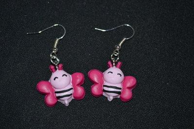 orecchini in fimo ape rosa