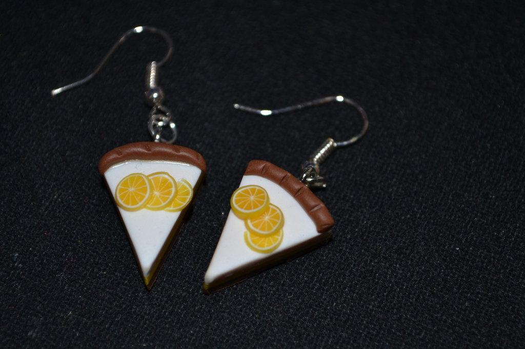 orecchini in fimo fetta di torta con arancia