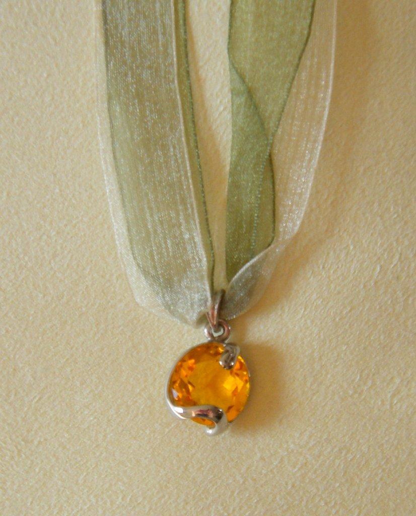 collana collarino organza e ciondolo con cristallo swarovski