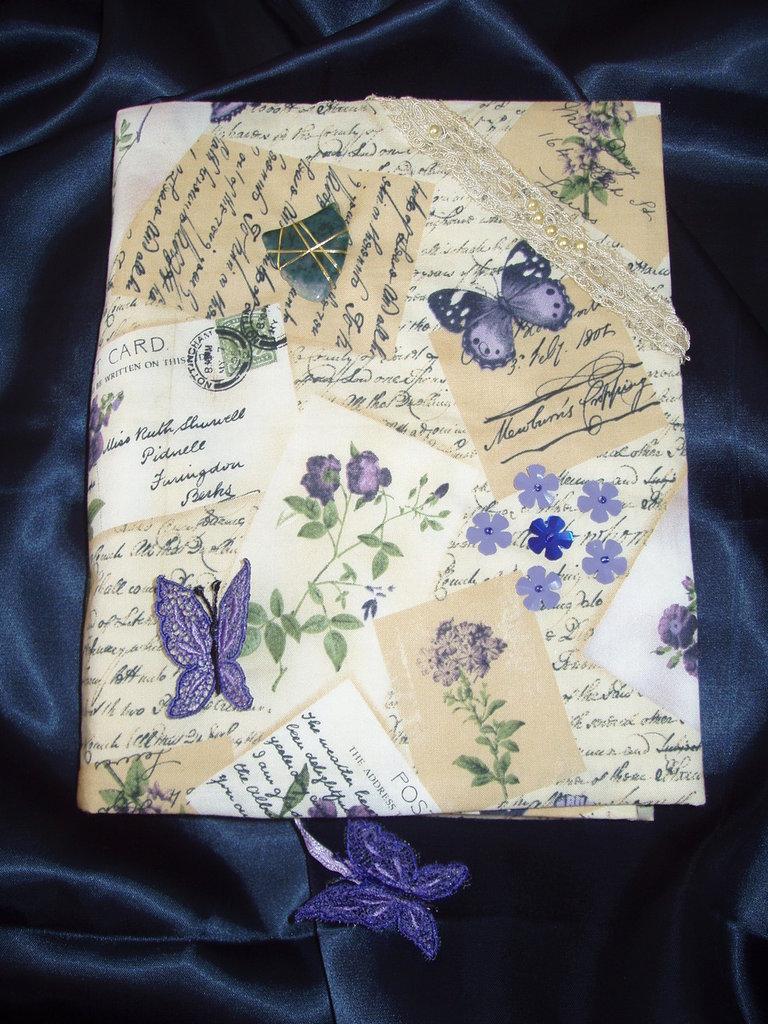 Diario con custodia e copertina in stoffa americana decorata a mano