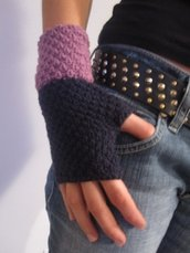 violet fingerless GLOVES - knitted handknitted crochetviolet fingerless GLOVES - knitted handknitted crochet