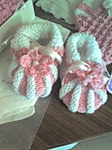 scarpine neonato  (0-3 mesi) di cotone bianco/rosa