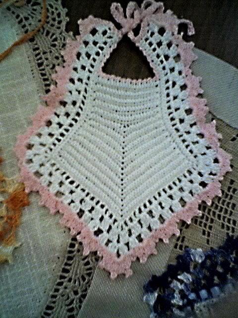 bavaglino (0-3) mesi di cotone bianco/rosa