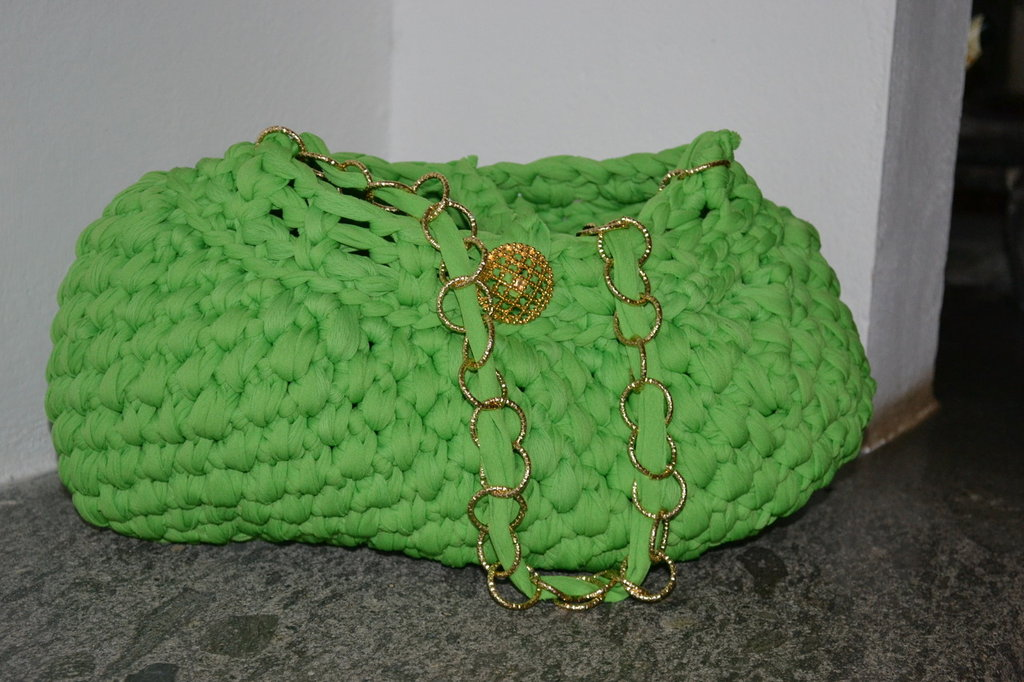borsa verde in fettuccia