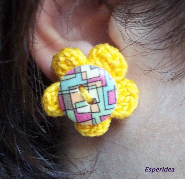 orecchini in cotone fiore giallo