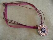 Collana fiore bordeaux