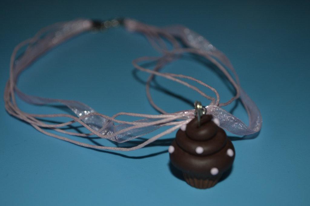 collana cupcake cordoncino organza