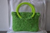 borsa in fettuccia verde