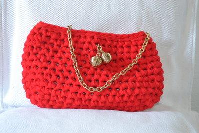 borsa in fettuccia rossa