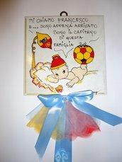 mattonella fiocco nascita personalizzata con loghi