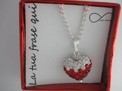 girocollo strass a cuore rosso e bianco