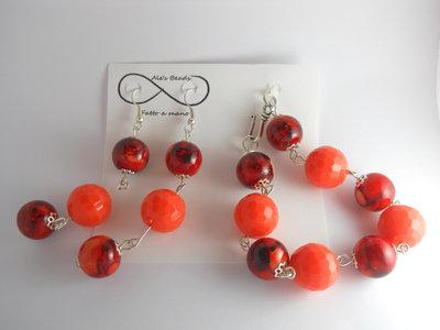 bracciale e orecchini arancione