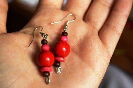Orecchini Legno Rosa Rosso