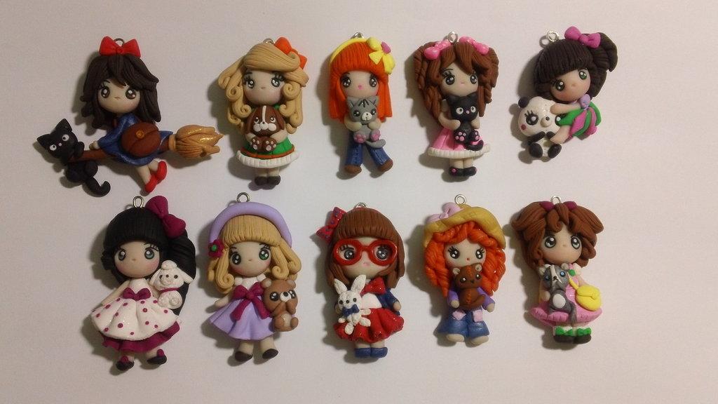 Lotto 10 bamboline in fimo