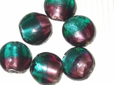 6 perle a disco bombato in vetro foglia argento viola e petrolio