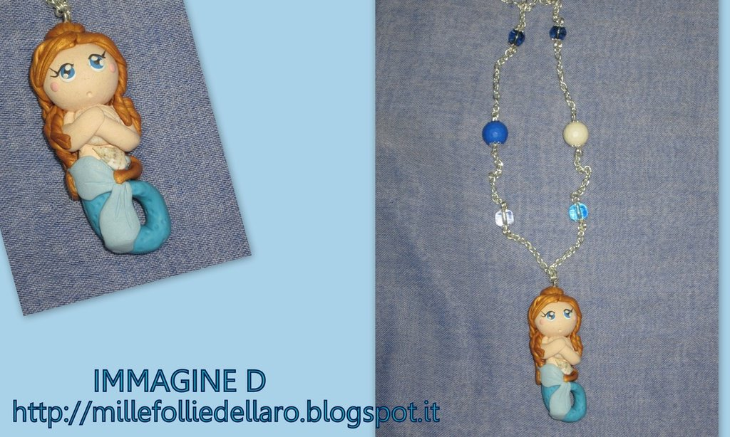 "lotto 3 ""sirenOtte"" collane con sirene in fimo"
